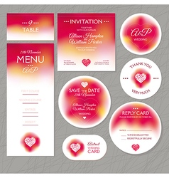 Set of modern wedding cards vector