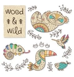 Wood animal figures Eco friendly toys vector image