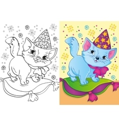 Coloring book of cat in christmas cap vector