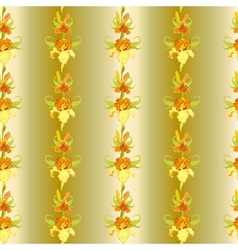Yellow iris flower seamless pattern background vector