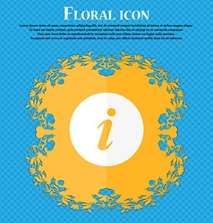 Info icon floral flat design on a blue abstract vector