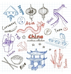 Hand drawn doodle china symbols set vector