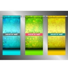 Three bright banners hanging on steel tubes vector