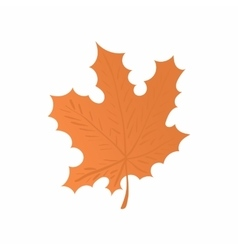 Orange maple leaf icon cartoon style vector