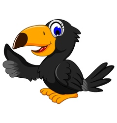 Cute black bird cartoon thumb up vector