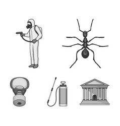 Ant staff in overalls and equipment monochrome vector
