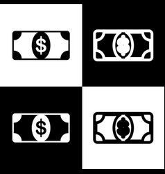 Bank note dollar sign black and white vector