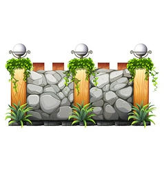 Brick wall with lamp and grass vector