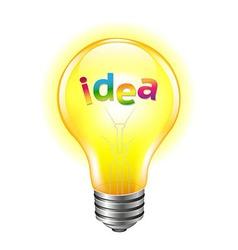 Bulb with text idea vector