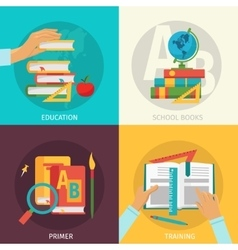 Colored School Books Icon Set vector image vector image