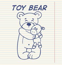 Cute doodle bear vector