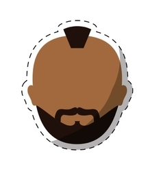 Dark skin bearded man with mohawk icon image vector