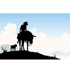 Donkey traveler vector