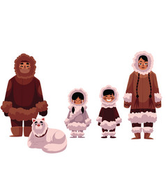 Eskimo inuit family of father mother and kids vector