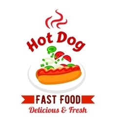 Fast food hot dog with fresh vegetables badge vector image vector image