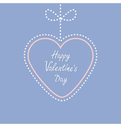 Hanging dashed line heart with bow Love greeting vector image