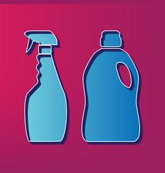 Household chemical bottles sign blue 3d vector