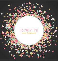 Its party time poster colorful confetti frame vector