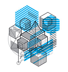 Lines and shapes abstract isometric 3d background vector