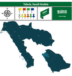 map of tabuk saudi arabia vector image vector image