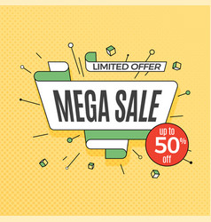 mega sale retro design element in pop art style vector image vector image