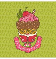 Merry christmas cupcake character vector