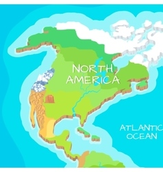 North america mainland cartoon relief map vector
