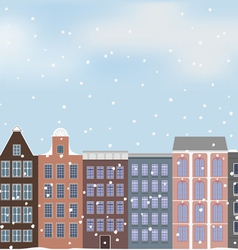 Old european city and snow vector
