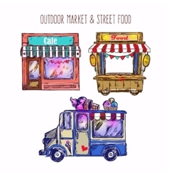 Outdoor market sketch icon set vector