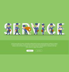 parcel conceptual web banner with cartoon postman vector image