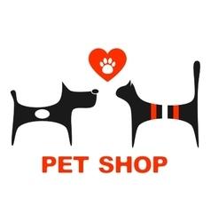 Pet shop symbol with pets vector