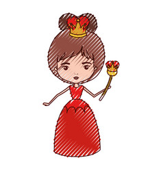 Queen with crown and scepter in red dress in vector