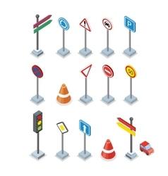 Road and Street Signs set Warrnings Billboards vector image vector image