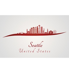 Seattle v2 skyline in red vector