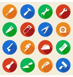Set of construction tools icons in flat style vector image