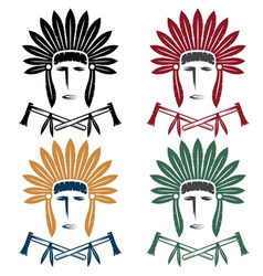 Set of native american chief man in tribal vector