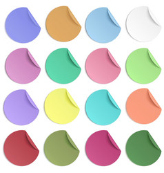 set of pastel color round paper sticker with edge vector image vector image