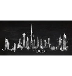 Silhouette chalk Dubai vector image