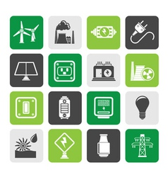 Silhouette electricity and energy icons vector