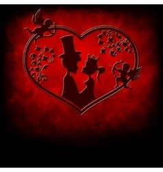 Silhouettes of the prince and princess with cupids vector