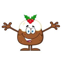Smiling christmas pudding cartoon character vector