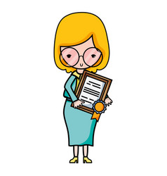 teacher with glasses and diploma certificate vector image vector image