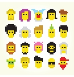 Twenty pixel art faces isolated set vector