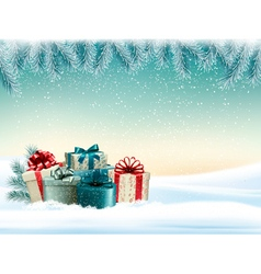 Winter christmas background with colorful presents vector image