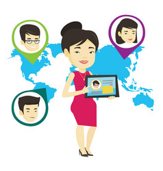 Woman holding tablet with social network vector
