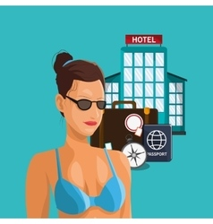 woman in bikini and travel related icons vector image vector image