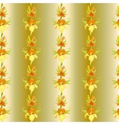 Yellow iris flower seamless pattern background vector