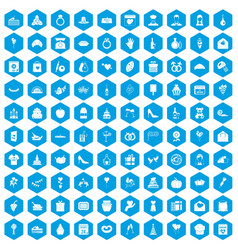 100 cake icons set blue vector