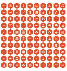 100 military resources icons hexagon orange vector