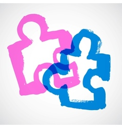Puzzle Ink Hand Drawn Symbols vector image